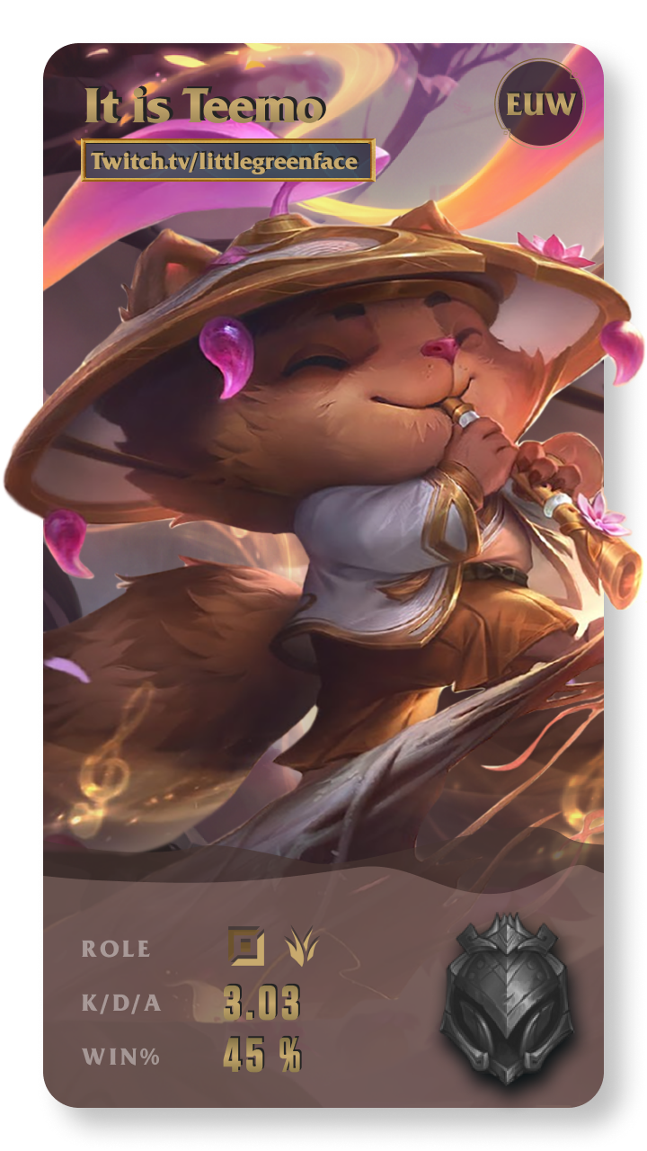 It is Teemo League of Legends Gamecard