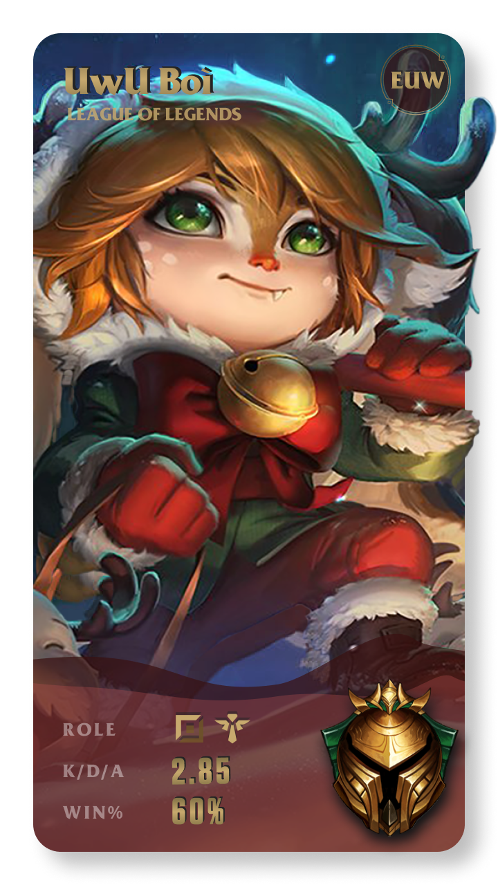 UwU Boì League of Legends Gamecard